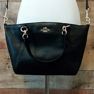 Coach Pebbled Black Leather Small Kelsey NWT